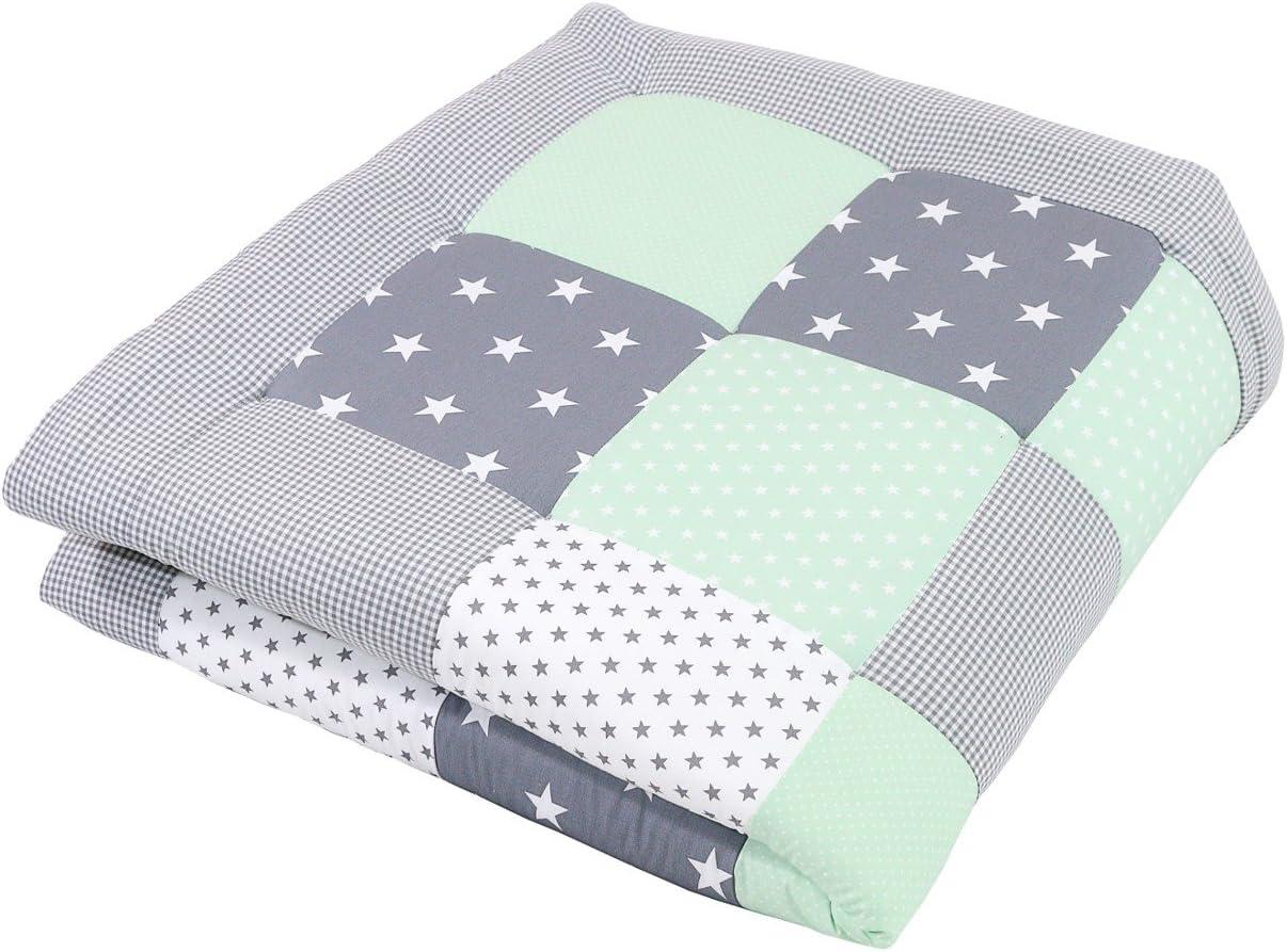 Alfombra para gatear de ULLENBOOM ® con menta gris (manta para bebé de 120x120 cm; ideal como colcha para el cochecito; apta como alfombra de juegos)