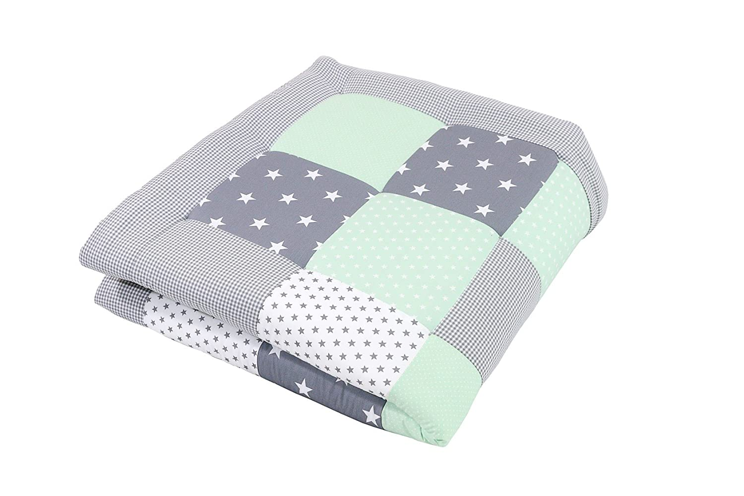120 x 120 cm ULLENBOOM ® baby playmat – mint grey (120 x 120 cm baby comforter blanket, great in the pushchair or as a playmat; motifs  stars)