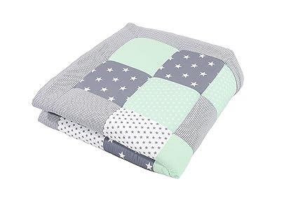 Alfombra para gatear de ULLENBOOM ® con menta gris (manta para bebé de 100 x