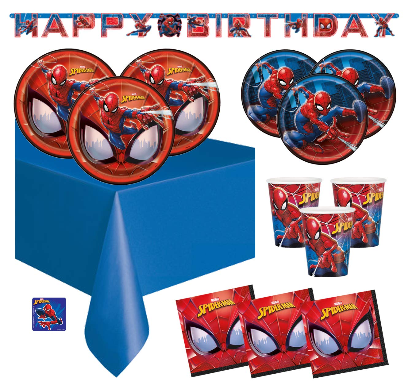 The Toy Express Spiderman Birthday Party Supplies Set (Deluxe - Serves 16)