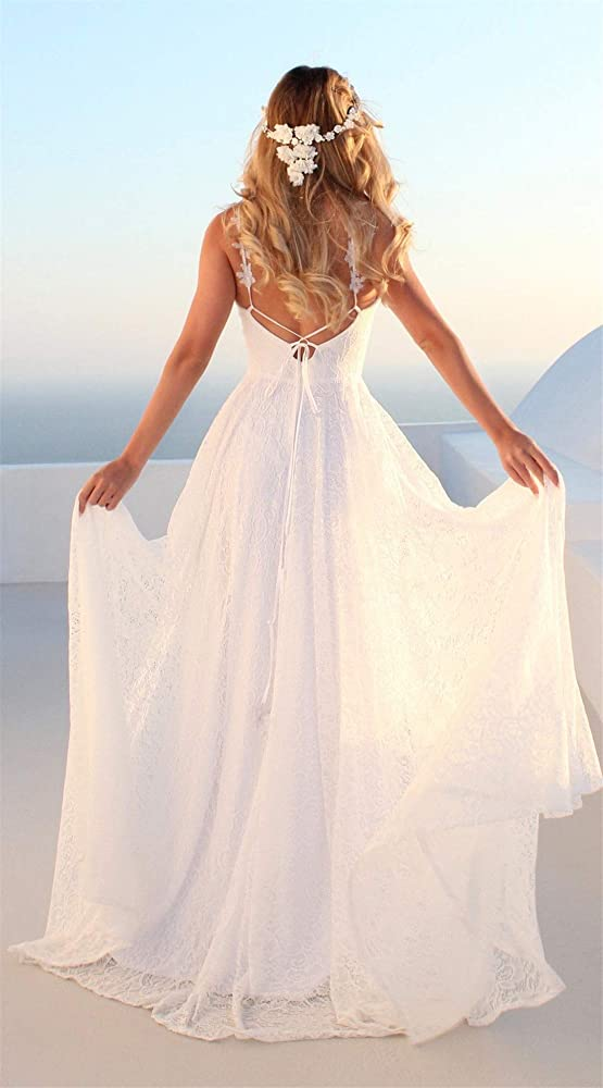 OSEMALL White Long Floral Lace Stylish Wedding Dress for Women,Sexy Backless Dress for Formal Prom,Party,Beach,Bridesmaid