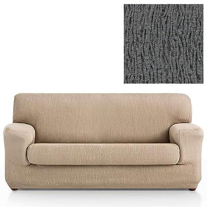Jarrous Funda de Sofá Elástica con el Cojín Separado Modelo Arucas, Color Gris-10, Medida 3 Plazas – 180-240cm