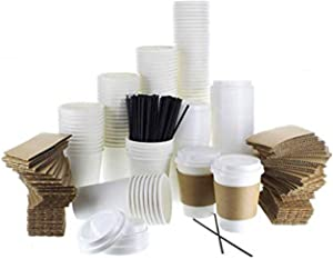{120 COUNT} JUMBO Pack White Coffee Cups | Insulated Disposable Hot Cups with Lids, Sleeves & Stirrers for Tea, Chocolate | Perfect for To-GoTravel Mug, Parties and More | Size 12 Ounce | 120 Sets