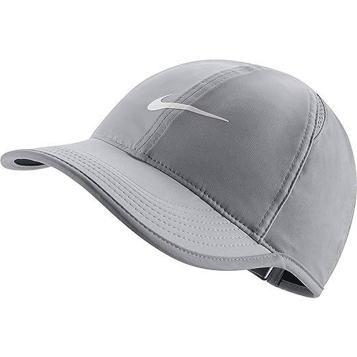 1578b54bf8aef5 NIKE Women's NikeCourt AeroBill Featherlight Tennis Cap Atmosphere Grey/ Black/White 1-Size