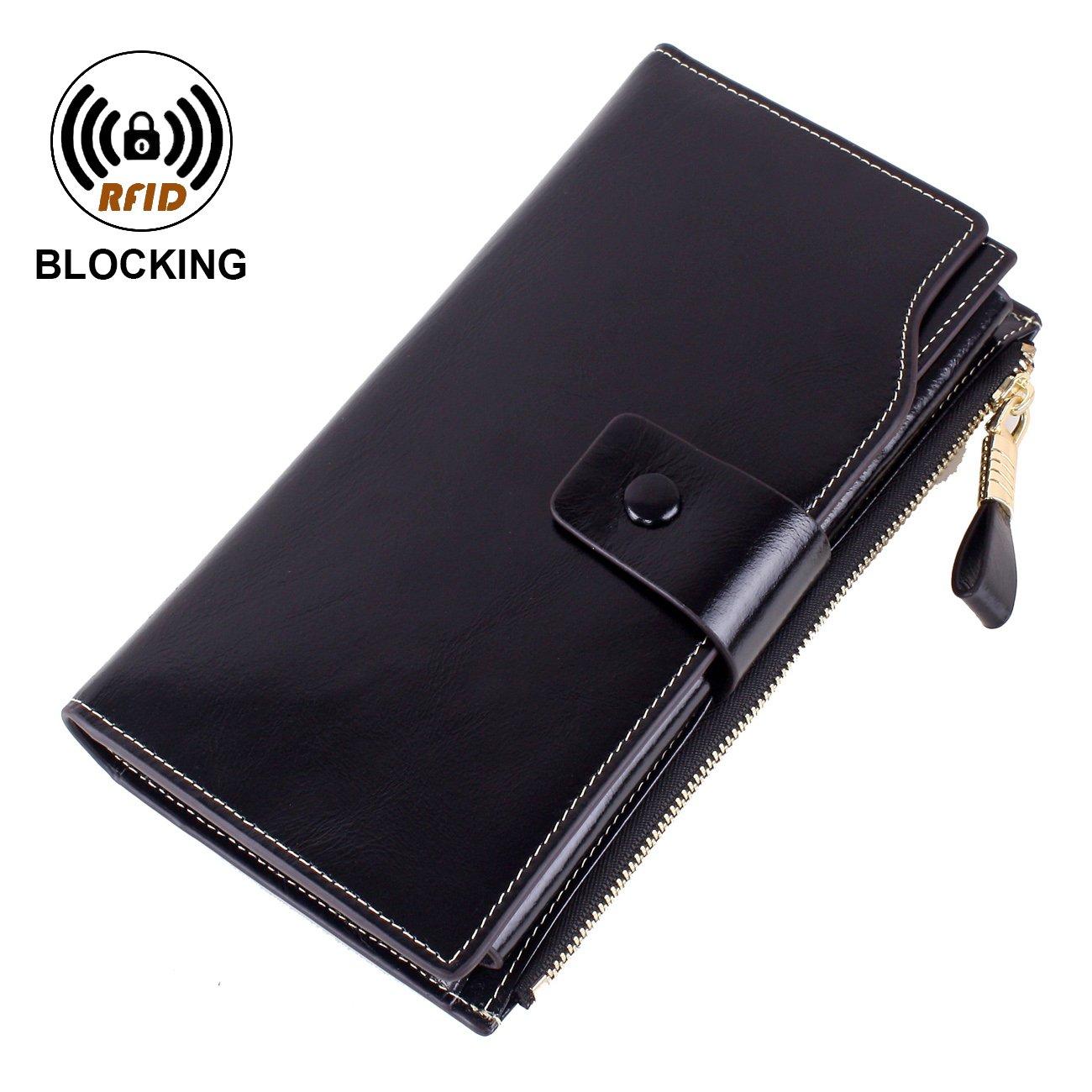 VentoMarea Women's RFID Blocking Large Capacity Luxury Waxed Genuine Leather Clutch Wallet Multi Card Organizer Ladies Purse