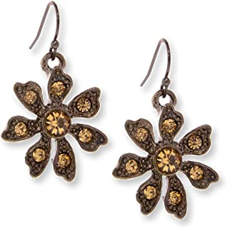 product image for Black Tone Flower Drop Earrings