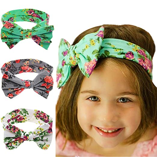 Amazon.com  Printed Bow Tie Headband Baby Girl s Elastic Headbands ... 2117b53e3c1