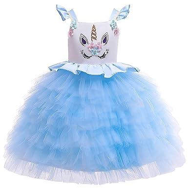 DJSJ- Niñas Vestido Unicornio Disfraz Carnaval con Unicorn ...