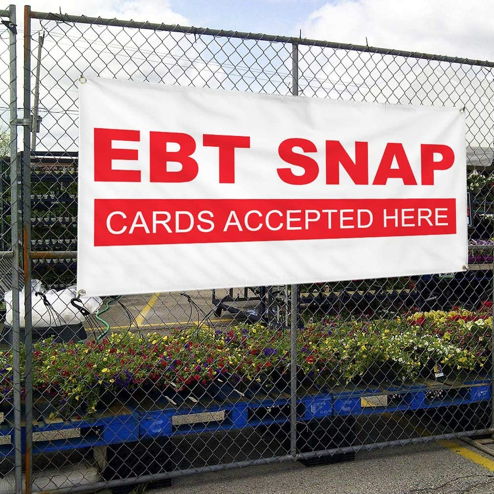 Vinyl Banner Multiple Sizes Ebt Snap Business Business Outdoor Weatherproof Industrial Yard Signs White 8 Grommets 48x96Inches