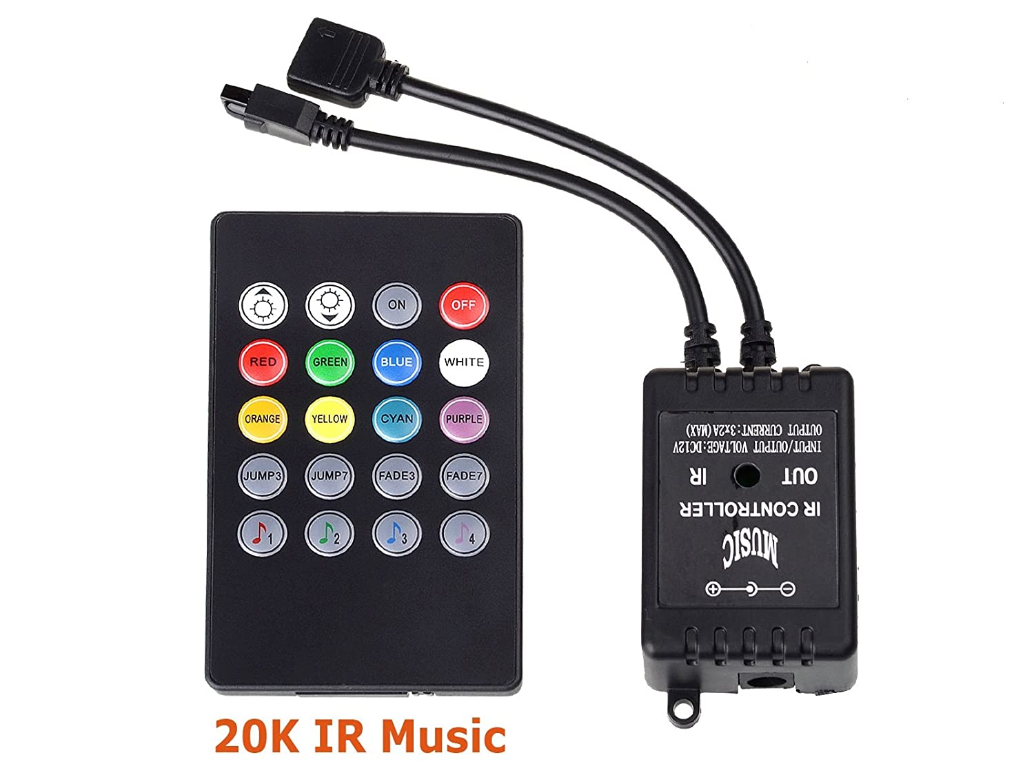 taotronics tt-sl030 led strip light ir remote music controller 20 key for  rgb 5050 led light strip: amazon co uk: kitchen & home