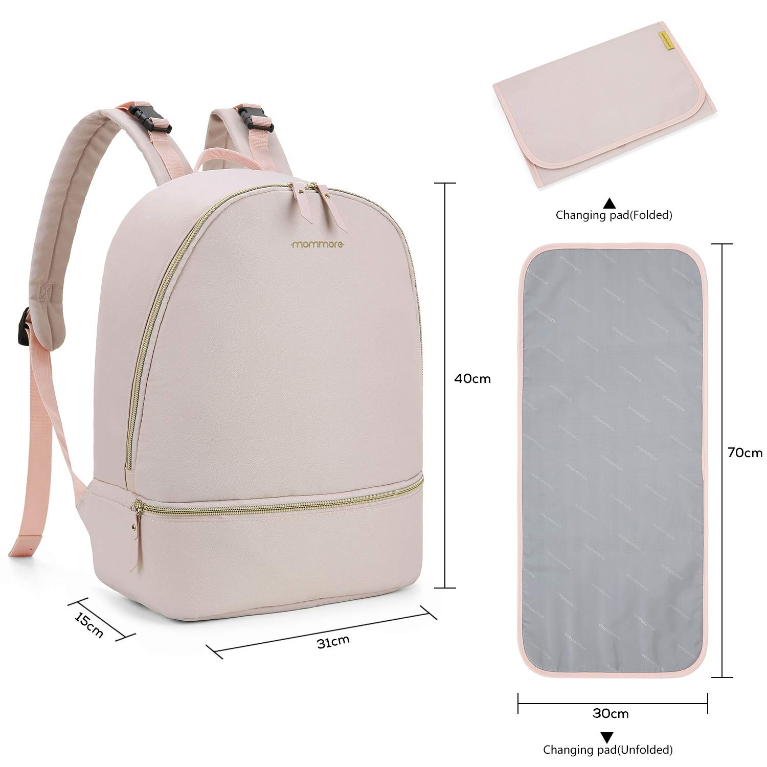 Grey Insulated Pocket and Clips for Pram mommore Fashion Small Changing Backpack with Changing Mats