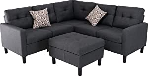 Good & Gracious Sectional Sofa Set, L-Shaped Couch with Reversible Storage Ottoman for Small Space Living Room, 100% Polyester Fabric, Dark Gray, 35.04