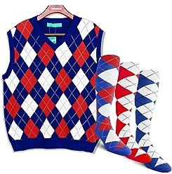 28e6c150c32386 Golf Knickers Argyle Sweater Vest and 3 Sock Set: Mens - Pullover Golf Vest