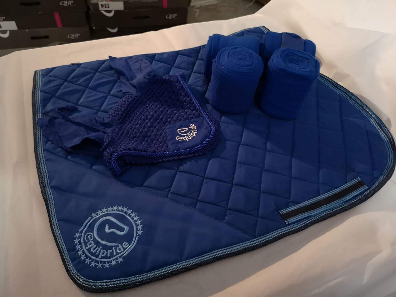 Equipride Saddle Pad Set with Matching Fly Veil /& Bandages Royal Blue Full//Cob