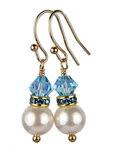 d605affa36fef Amazon.com: DAMALI 14k Gold Filled 8MM Akoya Pearl Earrings ...