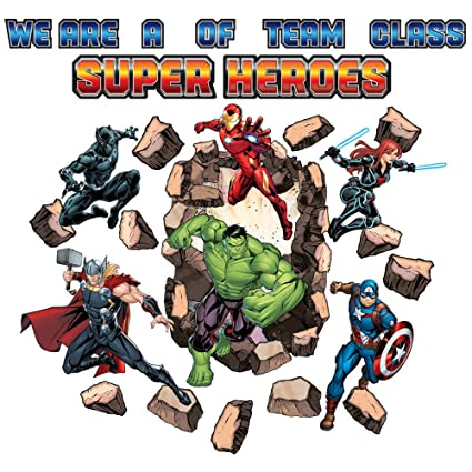 Eureka Back to School Marvel Avengers 'Assemble' Superhero Bulletin Board  and Classroom Decorations, 27pc, 17'' W x 24'' L