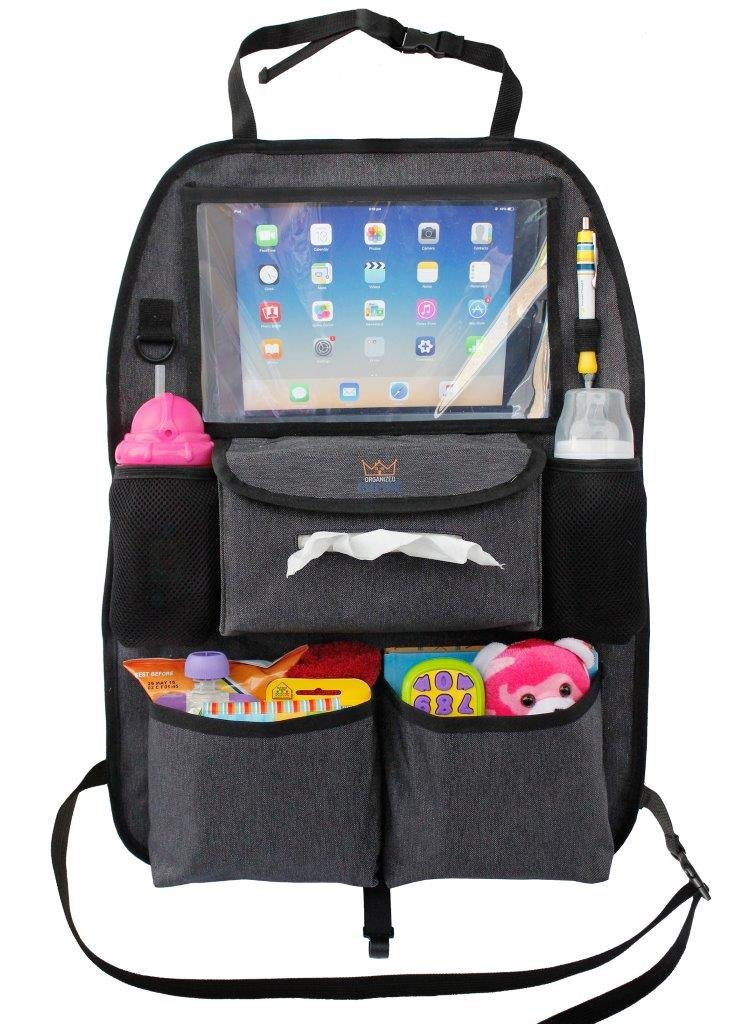 Backseat Car Organizer for Kids Toys & Baby Wipes with X-Large iPad Tablet Holder + BONUS HOOK, Luxury durable fabric, plenty of storage, firm fit, easy to install, kick mat protector for back of seat by Organized Empire