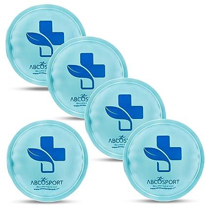 Redondo hielo gel – Set de 5 bolsas de hielo de Gel reutilizable – ideal tanto para terapia de frío o caliente, sin fugas, no gotea, diseño duradero – ...