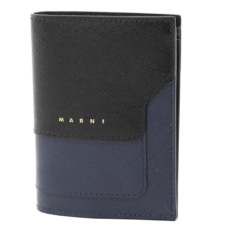 MARNI マルニ PFMOQ14U08 LV520 レザー 二つ折り財布 ミニ財布 スモール 豆財布 カラーZ049N/NIGHT BLUE+BLACK レディース Z049N/NIGHTBLUE+BLACK [並行輸入品] B07DWC2FM1