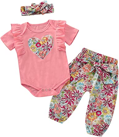 Toddler Infant Baby Girl Floral Top Romper Jumpsuit+Pant+Headband Outfit Clothes