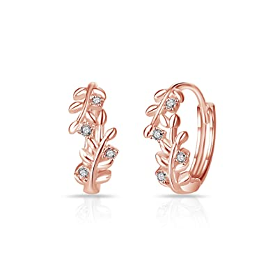 6e39db3fd Rose Gold Leaf Hoop Earrings with Crystals from Swarovski: Amazon.co.uk:  Jewellery