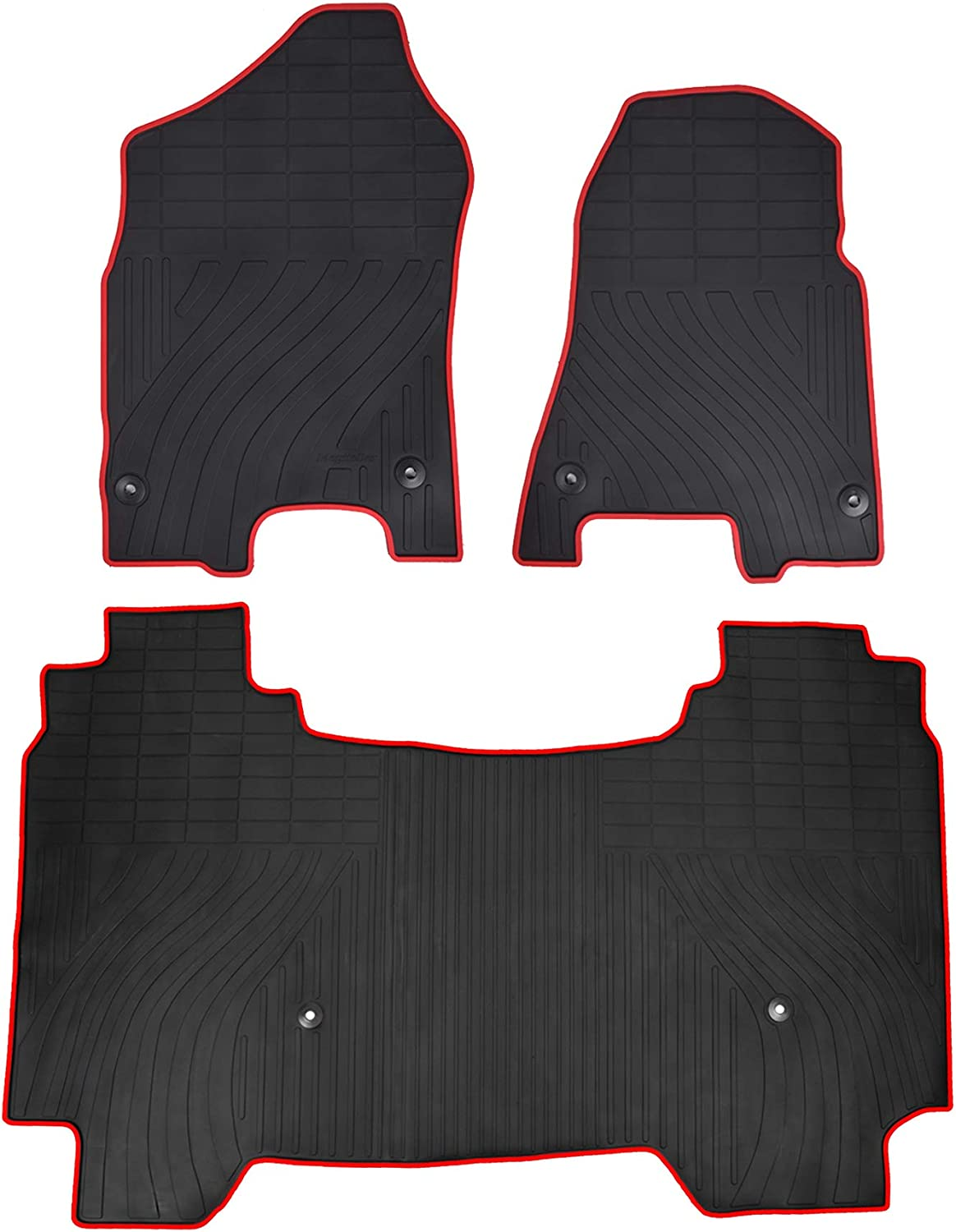 All Weather NOT for Storage Under Rear Seat Floor Liners Front and Rear Row Set Red Megiteller Car Floor Mats Custom Fit for Dodge Ram 1500 Crew Cab 2019 2020 Odorless Washable Heavy Duty Rubber