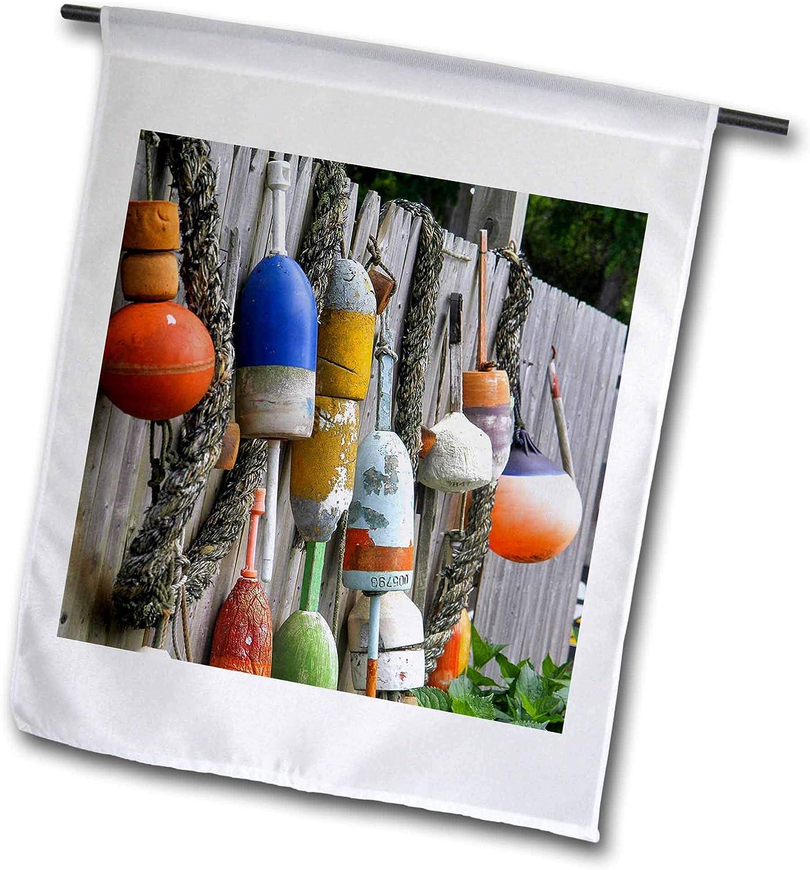 3dRose Danita Delimont - Fishing - Buoys Hanging on Fence, Eastham, Cape Cod, Massachusetts, USA. - 12 x 18 inch Garden Flag (fl_314840_1)
