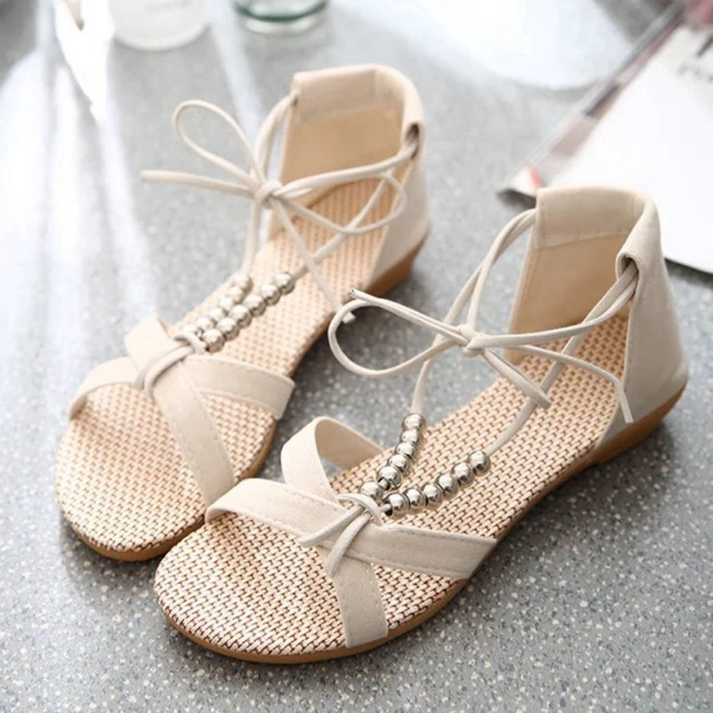 T-JULY Womens Ladies Fashion String Beaded Platform Bowknot Walking Sandals Peep Toe Slip on Comfy Dressy Slippers
