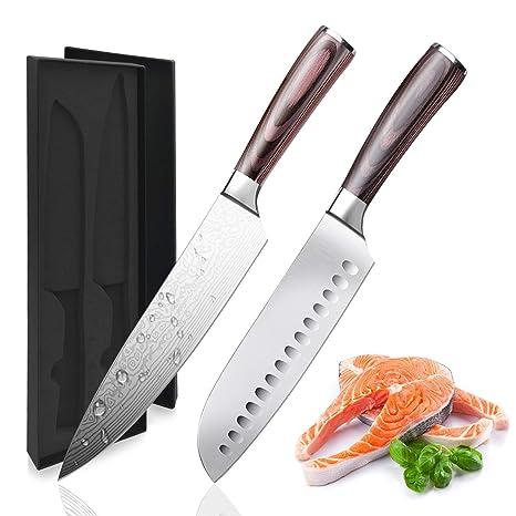 Amazon.com: Cuchillos de cocina de acero inoxidable, juego ...
