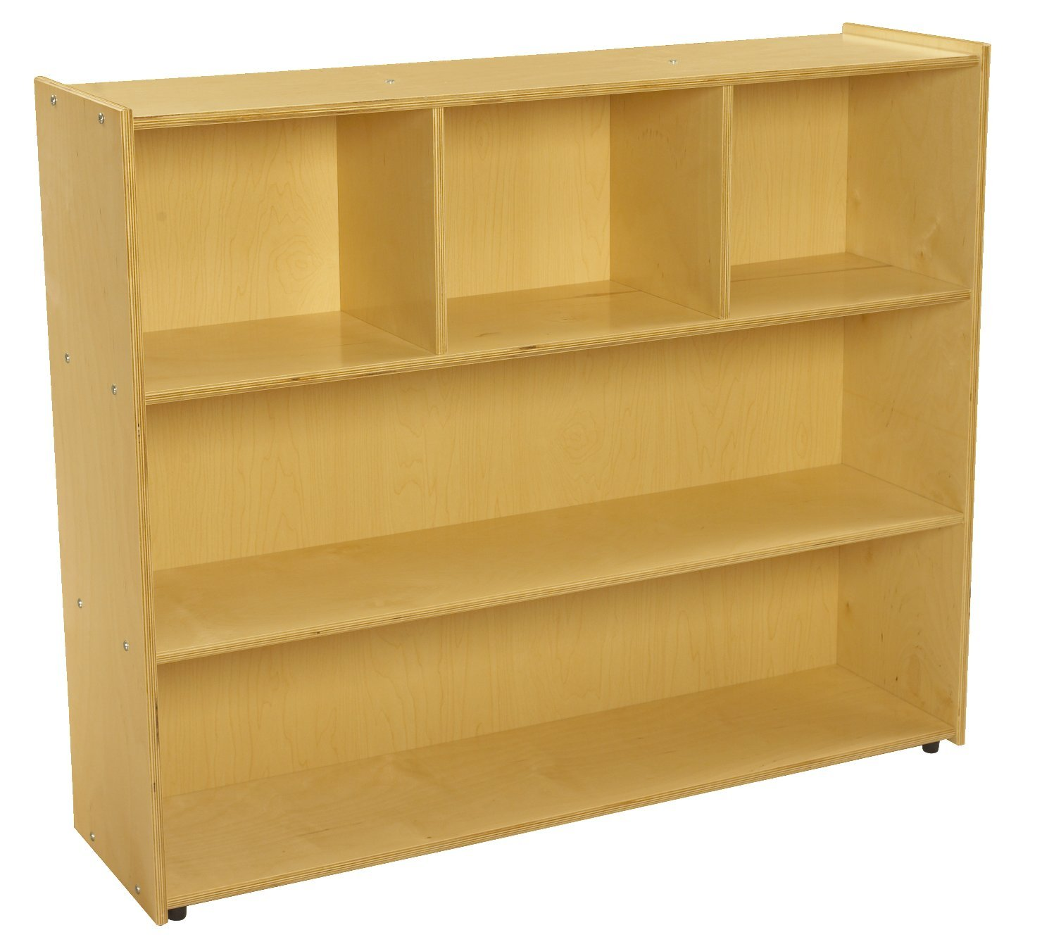 Childcraft 1526308 ABC Furnishings 3-Shelf Storage Unit, 40'' Height, 13'' Width, 48'' Length, Natural Wood