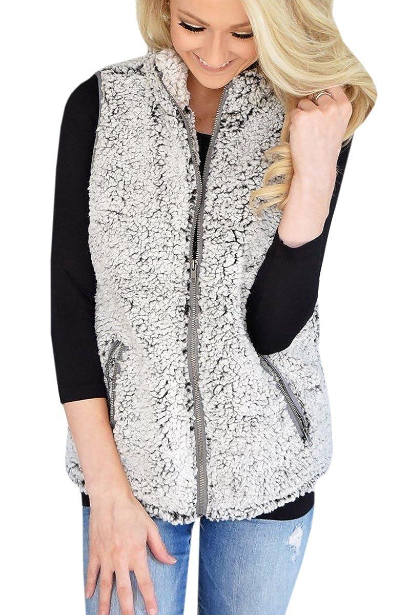 Gemijack Womens Vest Casual Faux Fur Sherpa Jacket Winter Sleeveless Zip up Coat