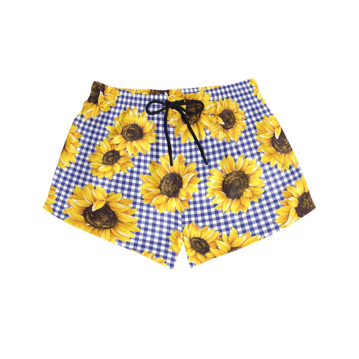Seamless Sunflowers Blue Plaid Pattern Womens Board Shorts with Pockets Quick Dry Drawstring Beach Swim Trunks S L