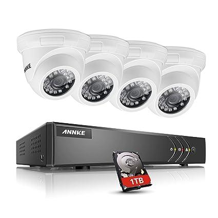 annke Videovigilancia Juego 8 canales DVR Grabador de vídeo con cámaras de seguridad 4 x 1.0