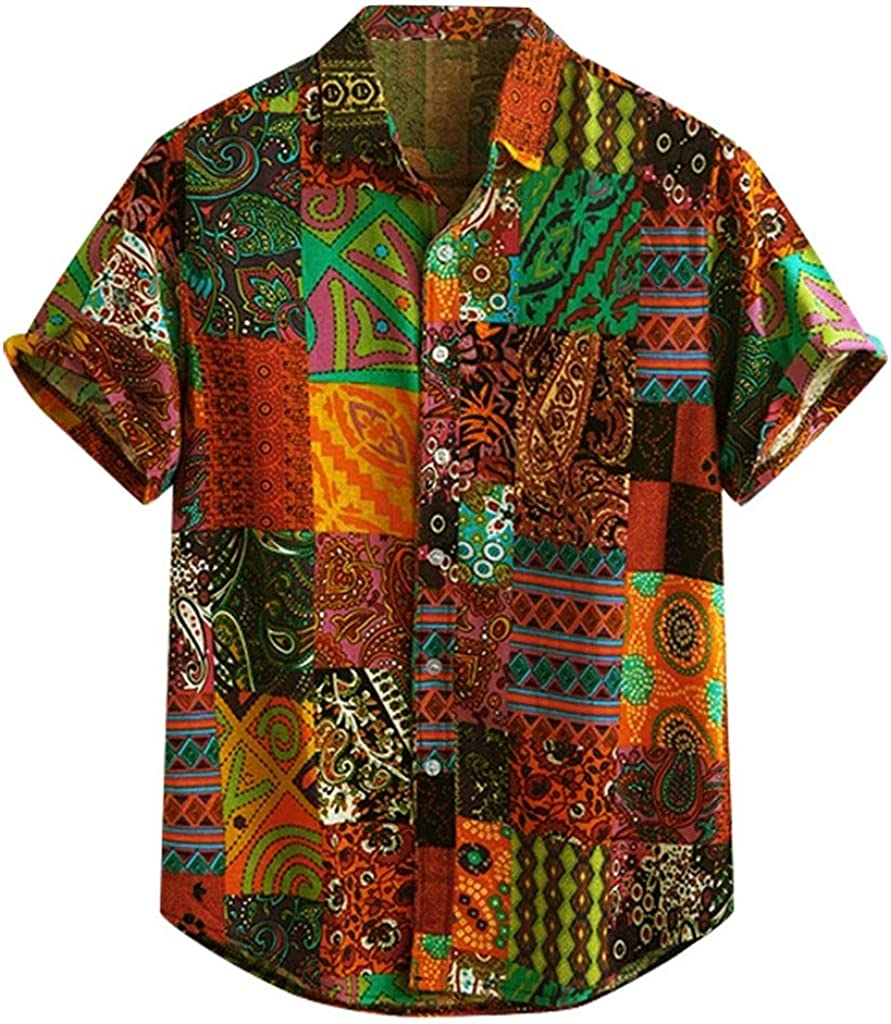 Men Plus Size T-Shirt Mens Summer Printing Tees Shirt Short Sleeve Cotton Blouse Tops(Color Camera Print)