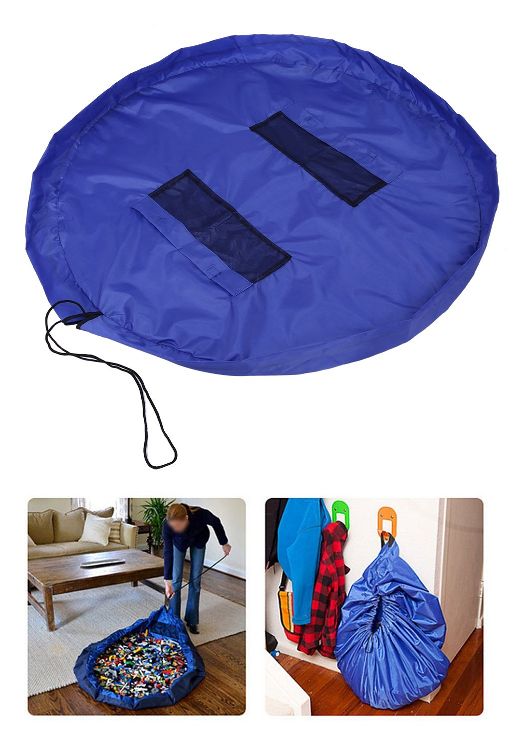 zjchao Easy Tidy Play & Storage mat - Quickly swoops into a shoulder bag - Ideal for Lego, Duplo & other children's toys for faster cleanup! Atlantic Blue (Large- 150CM) Duplo & other children's toys for faster cleanup! Atlantic Blue (Large- 150CM)