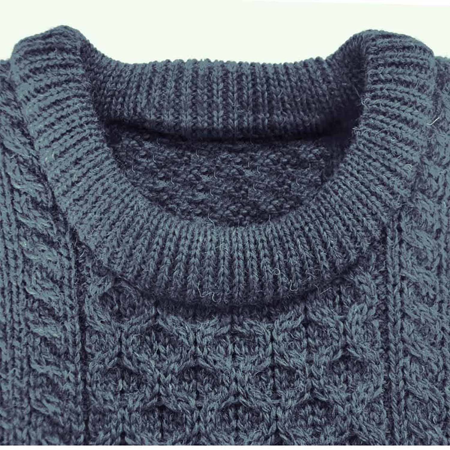 Navy 100 % Natural Wool Crew Neck Sweater With Cable Stitch Design