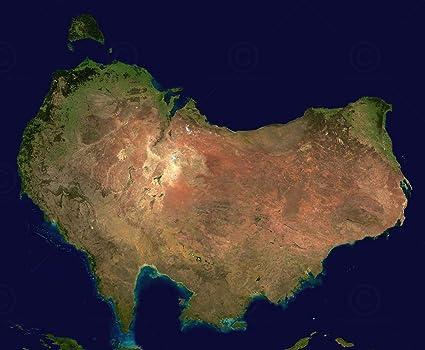 Australia Map Satellite.Amazon Com Australia Satellite Plane Map Large Wall Art Print