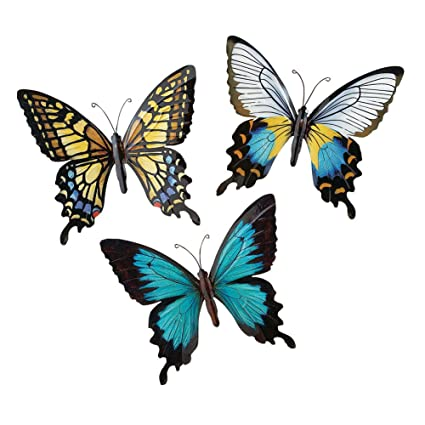 Metal Butterfly Wall Art Decoration Set Of 3 Fauna Insect Garden Theme Decor