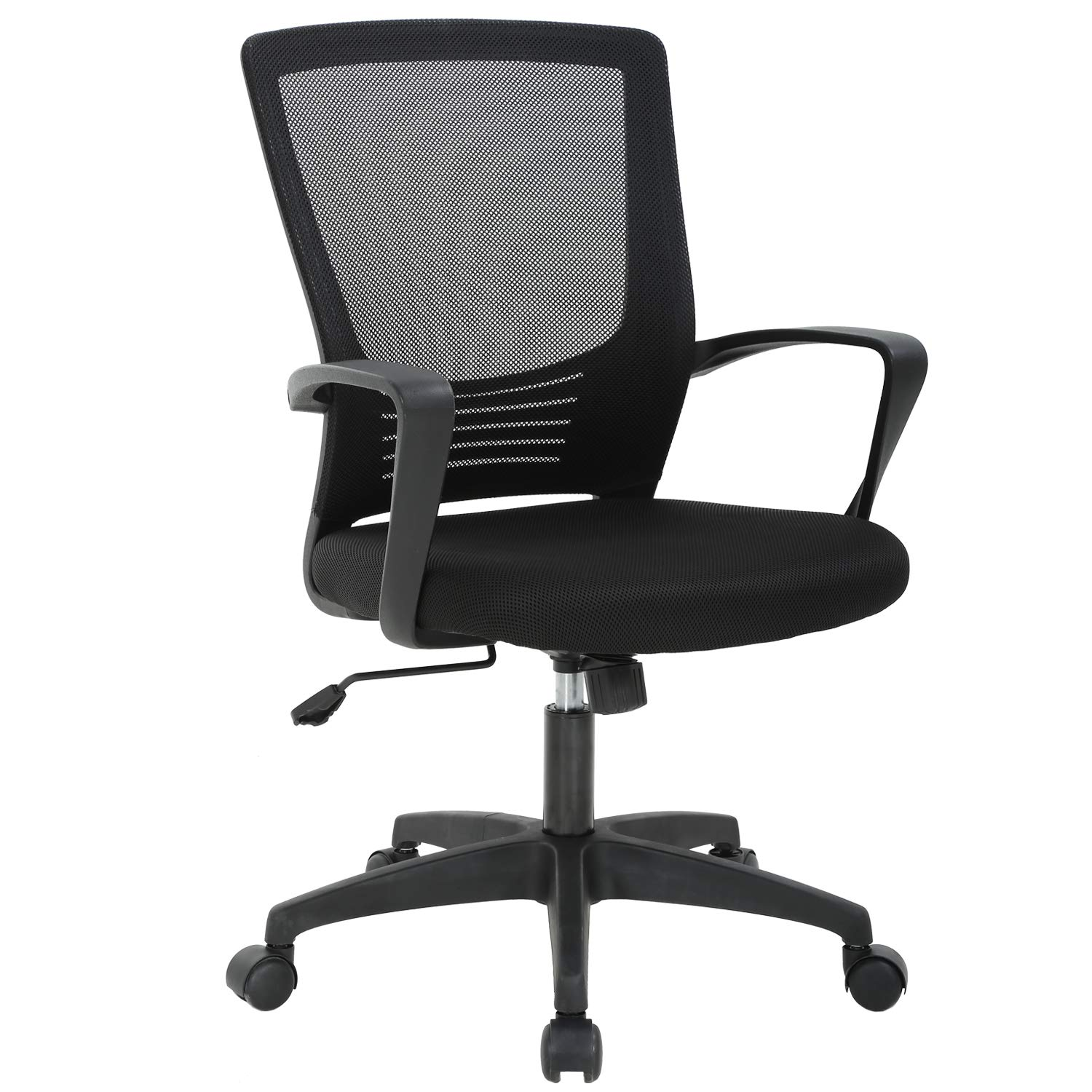 Office Chair Ergonomic Cheap Desk Chair Swivel Rolling Computer Chair Executive Lumbar Support Task Mesh Chair Metal Base for Home&Office, Black by BMS