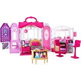 Barbie Glam Getaway Portable Dollhouse, 1 Story with Furniture, Accessories and Carrying Handle, for 3 to 7 Year Olds [Amazo