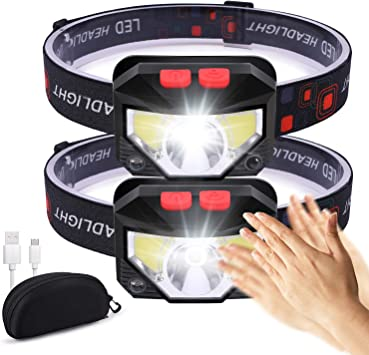 LED Motion Sensor Head Light Torch USB Rechargeable Headlamp for Camping Fishing