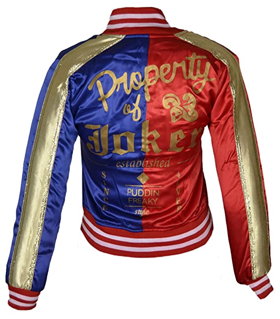 FWL Suicide Squad Harley Quinn Satin Bomber Jacket for Women (XXS) Red & Blue