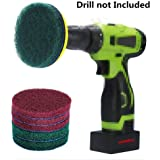 DUOSHIDA 4 Inch Drill Powered Brush Tile Scrubber Scouring Pads Cleaning Kit, 2 Different Stiffness, 4-Inch Disc Pad Holder with 6 Scrubbing Pads, Cleans Large Flat Areas Perfectly (4-inch)