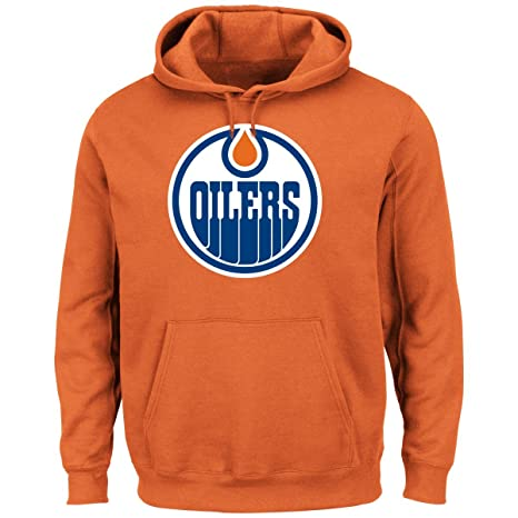 2959c5f7 Image Unavailable. Image not available for. Color: Majestic Edmonton Oilers  NHL Vintage Felt Tek Patch Hooded Sweatshirt