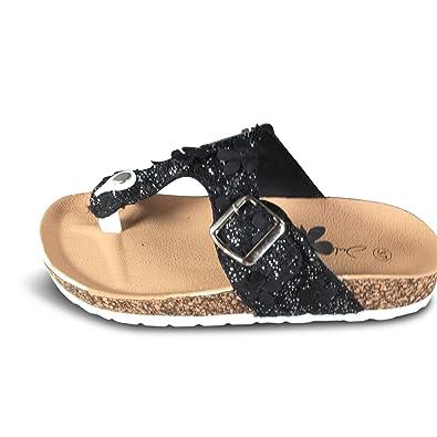 Schuhtraum Damen Zehentrenner Glitzer Sandalen Sandaletten Blumen Spitze  Slipper ST523  Amazon.de  Schuhe   Handtaschen 45dda75773
