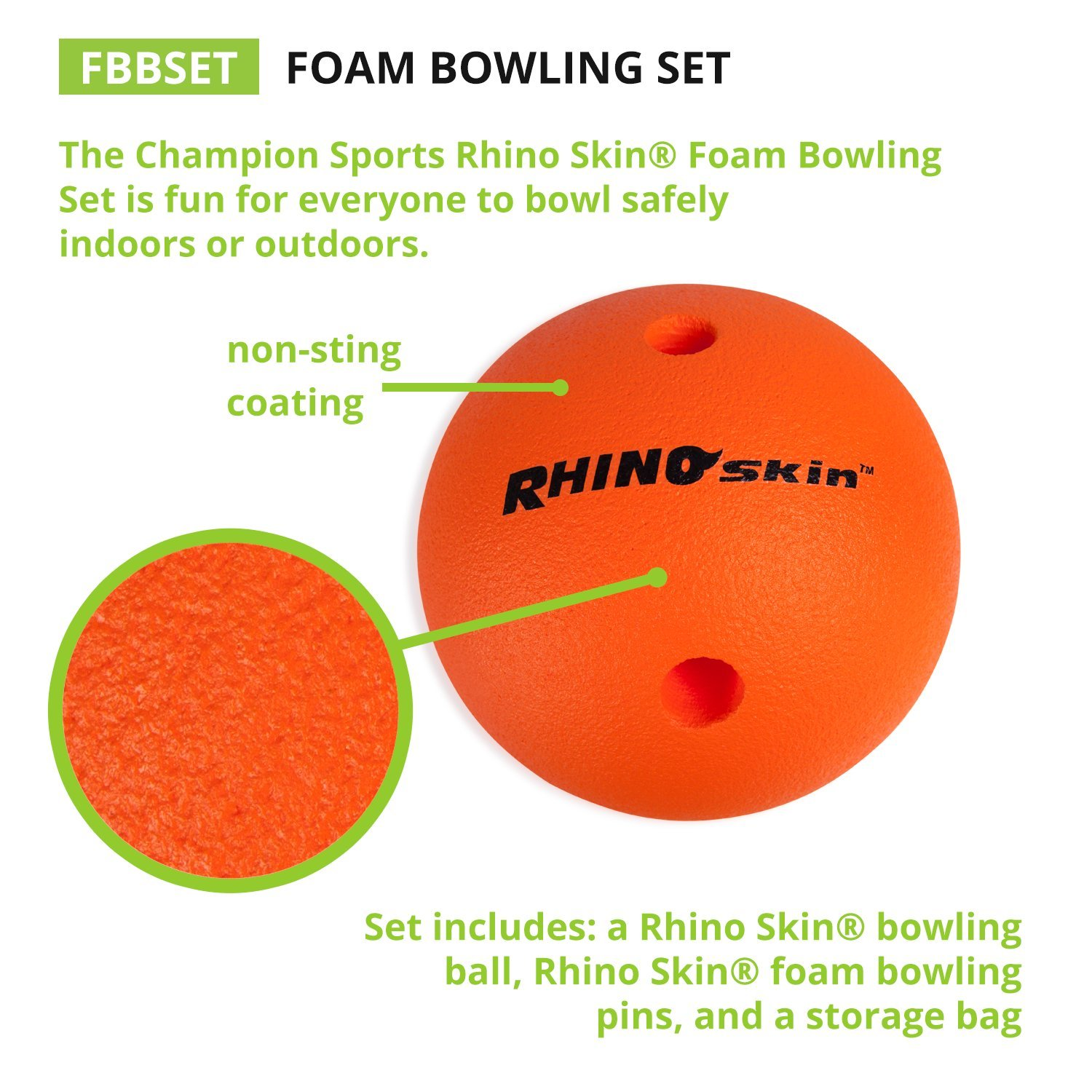 amazon com champion sports foam bowling set rhino skin ball