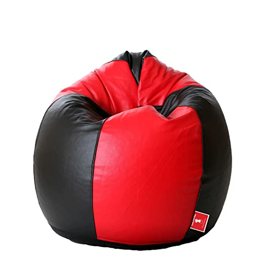 ComfyBean Teardrop Shape Bean Bag Filled with Beans  Large, Black and Red  Filled Bean Bags