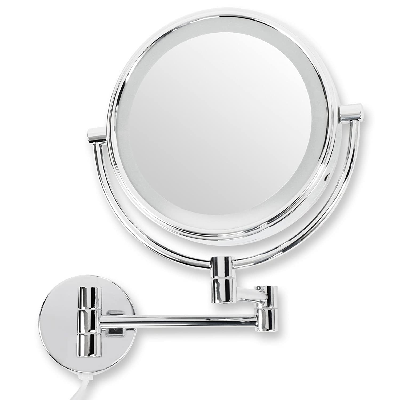 Casa pura® Kosmetikspiegel für die Wandmontage   mit LED Beleuchtung   3 hohe Vergrößerungsgrade wählbar (5-Fach)