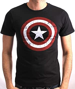Cotton Division Tshirt Homme Captain America - The Shield - Legend Icon - L, Noir: Amazon.es: Juguetes y juegos