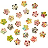 RuiChy 50pcs Colorful Wooden Buttons Sewing Scrapbooking Craft